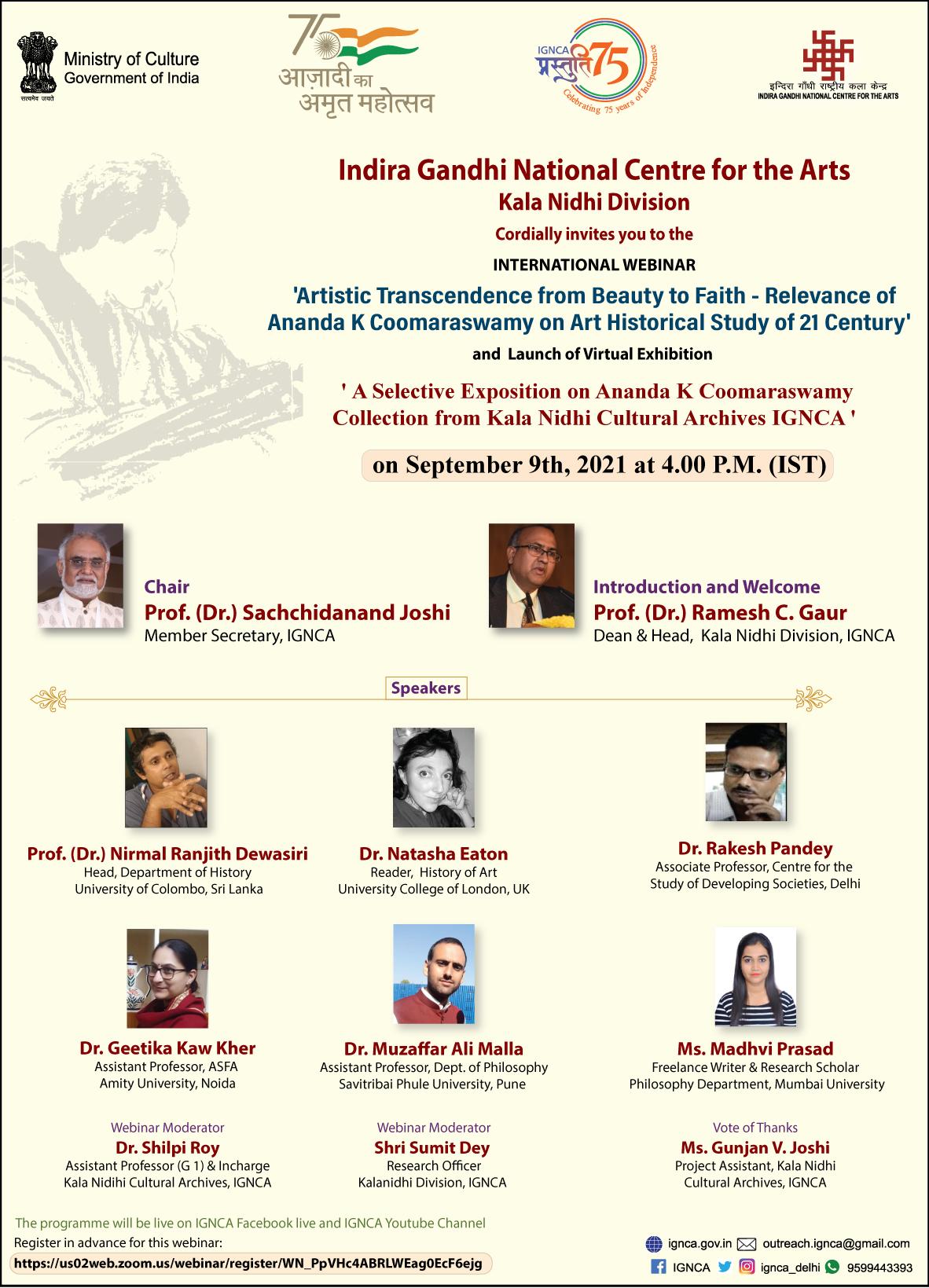 International webinar Ananda Kentish Coomaraswamy on 9th September at 4 pmIST
